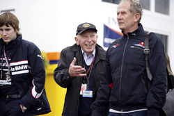 John Surtees, his son Henry and Dr Helmut Marko, Red Bull Motorsport Consultant