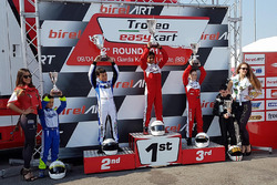 Podium Easykart 60: winner Ruhaan Alva, second place Lorenzo Patrese, third place Adam Kowalski