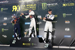 Podium: ganador, Mattias Ekström, EKS, Audi S1 EKS RX Quattro, segundo, Sebastien Loeb, Team Peugeot-Hansen, Peugeot 208 WRX, tercero, Johan Kristoffersson, PSRX Volkswagen Sweden, VW Polo GTi