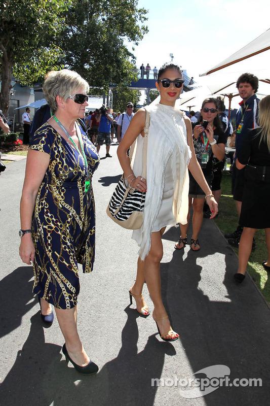 Mother of Jenson Button, McLaren Mercedes and Lewis Hamilton, McLaren Mercedes girlfriend