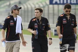 Sebastian Vettel, Tim Maylon, Guillaume 'Rocky' Rocquelin