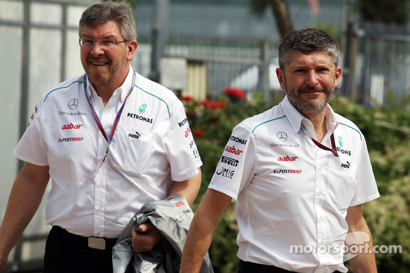 Ross Brawn, Mercedes GP Team Principal met Nick Fry, Mercedes GP Chief Executive Officer