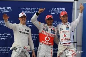 Qualifying results, Mercedes GP, pole position man 1st Lewis Hamilton, McLaren Mercedes Mercedes and 2nd place Jenson Button, McLaren Mercedes Mercedes