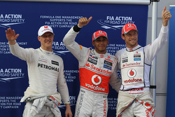 Qualifying results, Mercedes GP, pole position man 1st Lewis Hamilton, McLaren Mercedes Mercedes and 2nd place Jenson Button, McLaren Mercedes Mercedes