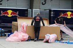 Red Bull Racing unpack in the paddock
