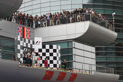 Podium: race winner Nico Rosberg, Mercedes AMG F1, second place Jenson Button, McLaren, third place Lewis Hamilton, McLaren