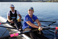 Lee Holdsworth trains with current double world sculls rowing champions Nathan Cohen