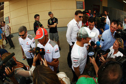 Lewis Hamilton, McLaren and Nico Rosberg, Mercedes AMG F1 with the media