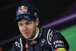 Pole sitter Sebastian Vettel, Red Bull Racing in the FIA Press Conference