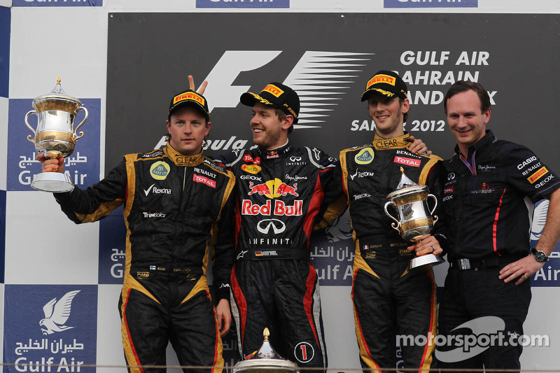 2012: Kimi Raikkonen, Sebastian Vettel y Romain Grosjean