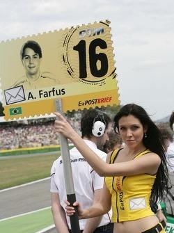 Grid girl of Augusto Farfus, BMW Team RBM BMW M3 DTM