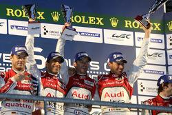 LMP1 Podium: Race winners: Romain Dumas, Loic Duval, Marc Gene