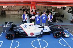Peter Sauber F1 Team, Sauber F1 Team Team Principal; Monisha Kaltenborn, Sauber F1 Team Managing Director; Ron Gouray, Chelsea Football Club CEO; Kamui Kobayashi, Sauber F1 Team; Sergio Perez, Sauber F1 Team