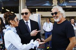 Ilham Aliyev, Staatspräsident Aserbaidschan, mit Ehefrau Mehriban Aliyev und Flavio Briatore