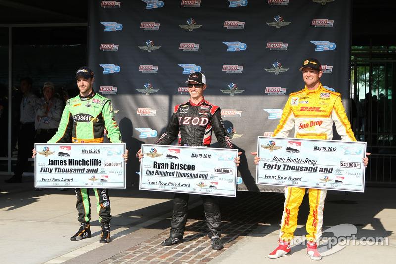 Pole winner Ryan Briscoe, Team Penske Chevrolet, second fastest James Hinchcliffe, Andretti Autosport Chevrolet, third fastest Ryan Hunter-Reay, Andretti Autosport Chevrolet
