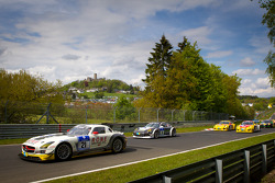 Formation lap: #21 ROWE Racing Mercedes-Benz SLS AMG GT3: Michael Zehe, Marko Hartung, Roland Rehfeld, Mark Bullitt