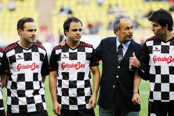 Dudu Massa, with brother Felipe Massa, Ferrari and Sergio Perez, Sauber at the charity football match