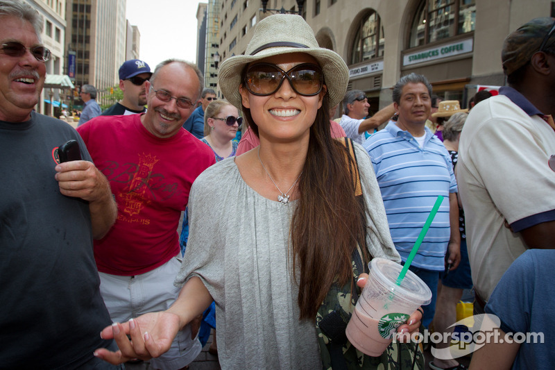 Indy 500 festival parade: Kumiko Goto, wife of Jean Alesi
