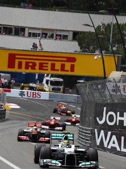 Nico Rosberg, Mercedes AMG F1 leads Lewis Hamilton, McLaren