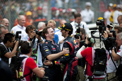 Christian Horner, Red Bull Racing Team Principal celebrates with race winner Mark Webber, Red Bull Racing in parc ferme