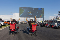 Fans watch the big screen