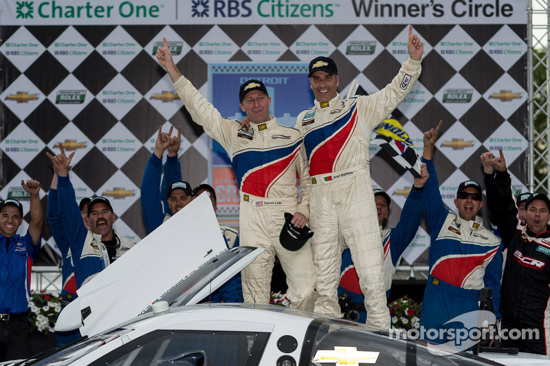 Race winners Joao Barbosa and Darren Law celebrate
