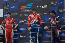 Podium from left: Alex Lynn, Jack Harvey and Carlos Sainz Jr.