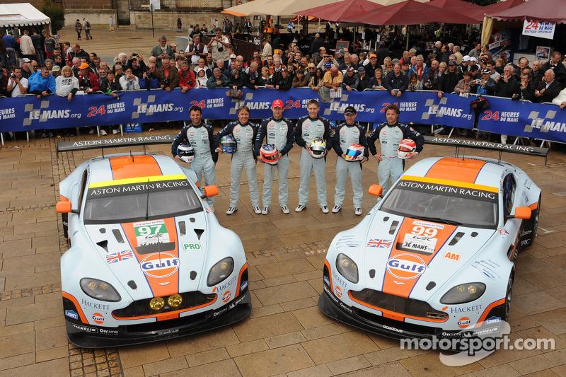 #97 Aston Martin Racing Aston Martin Vantage V8: Stefan Mücke, Adrian Fernandez, Darren Turner, #99 Aston Martin Racing Aston Martin Vantage V8: Christoffer Nygaard, Kristian Poulsen, Allan Simonsen