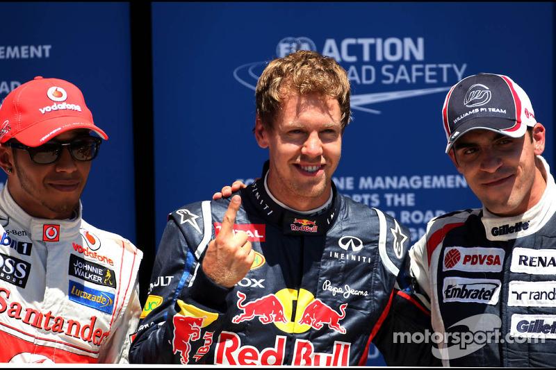Lewis Hamilton, McLaren Mercedes, Sebastian Vettel, Red Bull Racing en Pastor Maldonado, Williams F1 Team