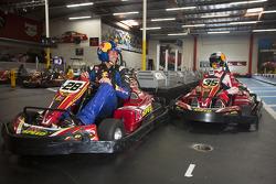 Sébastien Loeb and Travis Pastrana race in go-karts