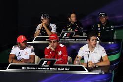 The FIA Press Conference, Williams; Romain Grosjean, Lotus F1 Team; Vitaly Petrov, Caterham; Lewis Hamilton, McLaren Mercedes Mercedes; Fernando Alonso, Ferrari; Paul di Resta, Sahara Force India F1