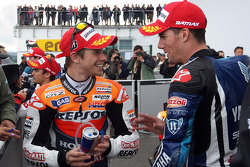Polesitter Casey Stoner, Repsol Honda Team, second place Ben Spies, Yamaha Factory Racing
