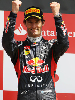 Race winner Mark Webber, Red Bull Racing celebrates on the podium