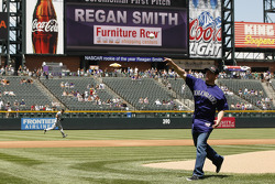 Regan Smith, Furniture Row Chevrolet throws out the first pitch at a Colorado Rockies baseball game