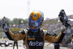 Race winner Esteban Gutierrez celebrates