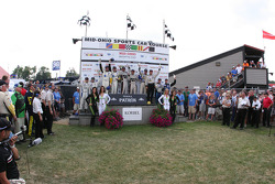Class podium: P1 winners Lucas Luhr, Klaus Graf, P2 winners Scott Tucker, Christophe Bouchut, GT winners Tom Milner, Oliver Gavin, PC winners Rudy Junco, Marino Franchitti, GTC winners Al Carter, Spencer Pumpelly