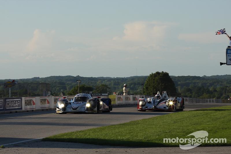 #16 Dyson Racing Team Inc. Lola B12/60 Mazda: Chris Dyson, Guy Smith narrowly beats #6 Muscle Milk Pickett Racing HPD ARX-03a Honda: Lucas Luhr, Klaus Graf to the line to win