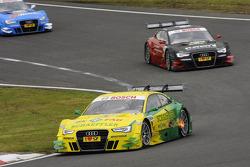 Mike Rockenfeller, Audi Sport Team Phoenix Racing Audi A5 DTM leading ahead of Edoardo Mortara, Audi Sport Team Rosberg Audi A5 DTM