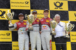 Podium: race winner Edoardo Mortara, Audi Sport Team Rosberg, second place Mike Rockenfeller, Audi Sport Team Phoenix Racing, third place Mattias Ekström, Audi Sport Team Abt Sportsline