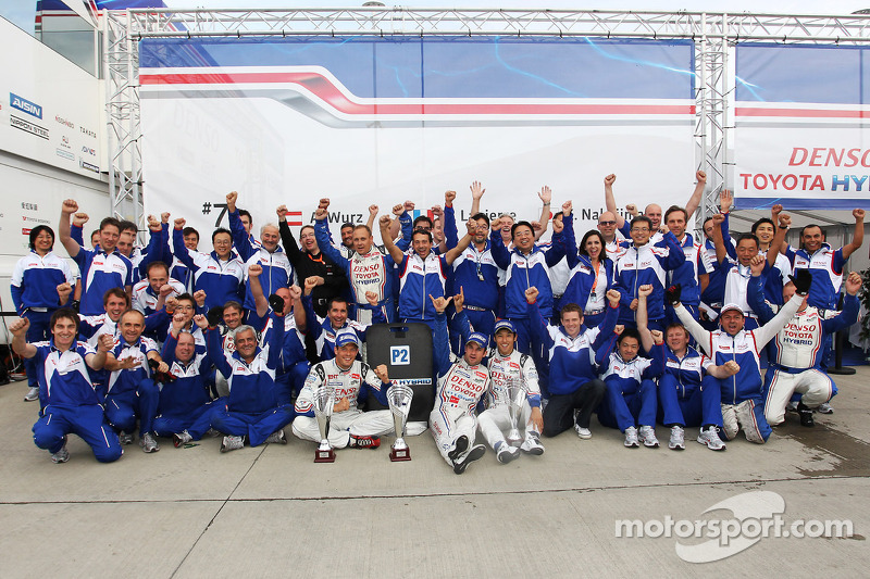 The Toyota team celebrates their second place