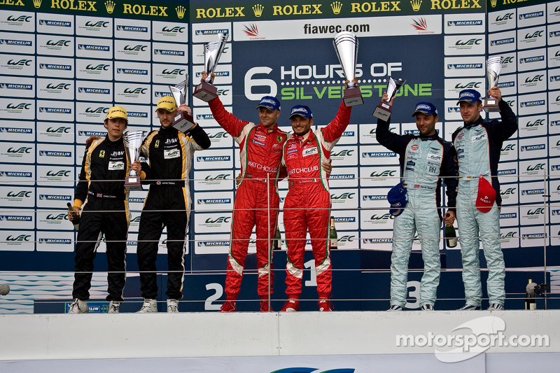 GTE-Pro podium: winners Giancarlo Fisichella, Gianmaria Bruni, second place James Walker, Jonny Cocker, third place Darren Turner, Stefan Mücke
