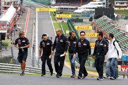 Jean-Eric Vergne, Scuderia Toro Rosso walks the circuit and climbs Eau Rouge