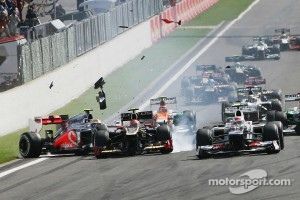 The crash at the start of the 2012 Belgian GP between Romain Grosjean and Lewis Hamilton