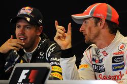 Post race FIA Press Conference, Red Bull Racing, second; Jenson Button, McLaren, race winner