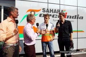 Paul di Resta, Sahara Force India F1 with, Red Bull Racing and Scuderia Toro Advisor / BBC Television Commentator; Eddie Jordan, BBC Television Pundit and Jake Humphrey, BBC Television Presenter