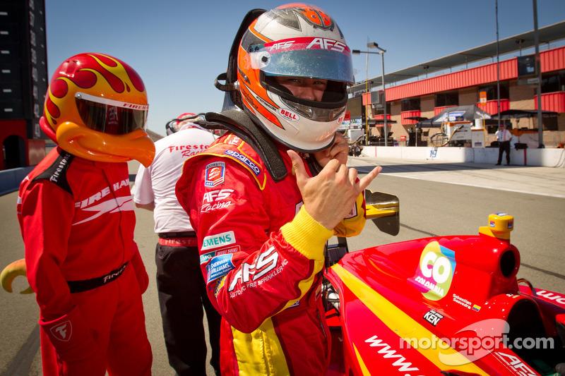 Pole winner Sebastian Saavedra, AFS Racing celebrates