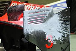 McLaren rear wing of Jenson Button, McLaren with flow-vis paint