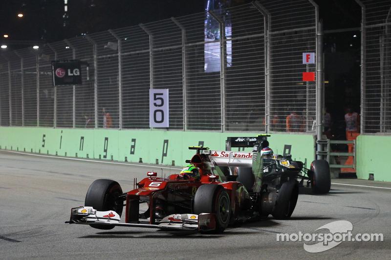 Felipe Massa, Ferrari met lekke achterband bij de start