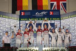 Overall podium: winners Marcel Fässler, Benoit Tréluyer, Andre Lotterer, second place Tom Kristensen, Allan McNish, third place Nick Leventis, Danny Watts, Jonny Kane