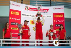 458TP podium: class and overall winner #24 Ferrari of Beverly Hills 458TP: Carlos Kauffmann, second